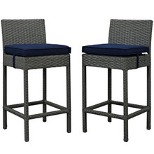 Sojourn Bar Stool Chair ( Set of Two), Navy, Rattan 10586