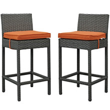 Sojourn Bar Stool Chair ( Set of Two), Orange, Rattan 10587