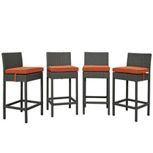 Sojourn Four PCS Outdoor Patio Sunbrella Pub Set, Orange, Rattan 10590