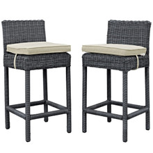 Summon Bar Stool Chair ( Set of Two), Beige, Rattan 10591