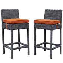 Summon Bar Stool Chair ( Set of Two), Orange, Rattan 10593