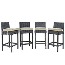Summon Bar Stool Outdoor Patio Sunbrella Set of 4, Beige, Rattan 10594