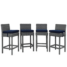 Summon Bar Stool Outdoor Patio Sunbrella Set of 4, Navy, Rattan 10595