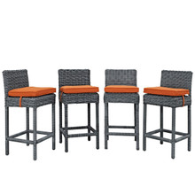 Summon Bar Stool Outdoor Patio Sunbrella Set of 4, Orange, Rattan 10596