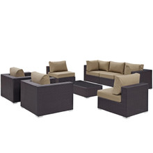 Convene Eight PCS Outdoor Patio Sectional Set, Brown, Rattan 10626