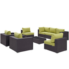 Convene Eight PCS Outdoor Patio Sectional Set, Brown, Rattan 10628
