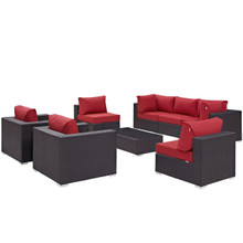 Convene Eight PCS Outdoor Patio Sectional Set, Red, Rattan 10629