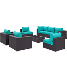 Convene Eight PCS Outdoor Patio Sectional Set, Blue, Rattan 10630
