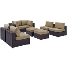 Convene Eight PCS Outdoor Patio Sectional Set, Brown, Rattan 10633