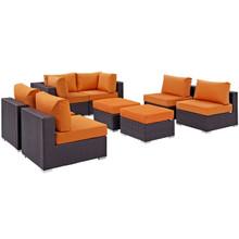 Convene Eight PCS Outdoor Patio Sectional Set, Orange, Rattan 10634
