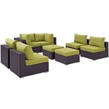 Convene Eight PCS Outdoor Patio Sectional Set, Green, Rattan 10635