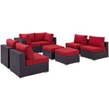 Convene Eight PCS Outdoor Patio Sectional Set, Red, Rattan 10636