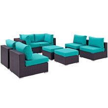 Convene Eight PCS Outdoor Patio Sectional Set, Blue, Rattan 10637