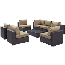 Convene Eight PCS Outdoor Patio Sectional Set, Brown, Rattan 10640