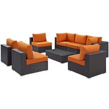Convene Eight PCS Outdoor Patio Sectional Set, Orange, Rattan 10641