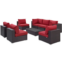 Convene Eight PCS Outdoor Patio Sectional Set, Red, Rattan 10643