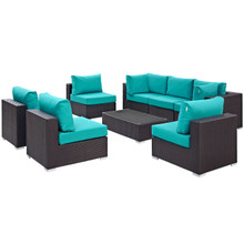 Convene Eight PCS Outdoor Patio Sectional Set, Blue, Rattan 10644
