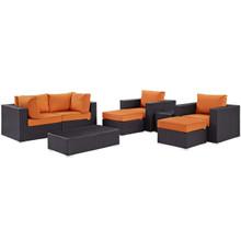 Convene Eight PCS Outdoor Patio Sectional Set, Orange, Rattan 10648