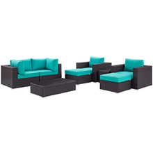 Convene Eight PCS Outdoor Patio Sectional Set, Blue, Rattan 10651