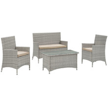 Bridge Four PCS Outdoor Patio Patio Conversation Set, Beige, Rattan 10669