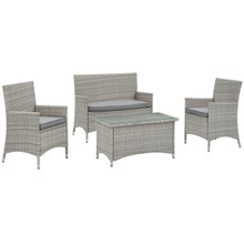 Bridge Four PCS Outdoor Patio Patio Conversation Set, Grey, Rattan 10670