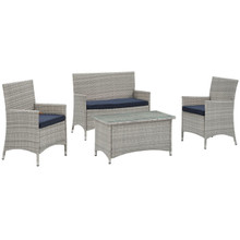Bridge Four PCS Outdoor Patio Patio Conversation Set, Navy, Rattan 10671
