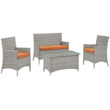 Bridge Four PCS Outdoor Patio Patio Conversation Set, Orange, Rattan 10672