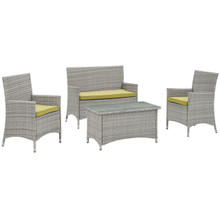 Bridge Four PCS Outdoor Patio Patio Conversation Set, Green, Rattan 10673