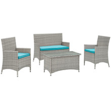 Bridge Four PCS Outdoor Patio Patio Conversation Set, Blue, Rattan 10674