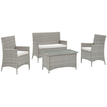Bridge Four PCS Outdoor Patio Patio Conversation Set, White, Rattan 10675