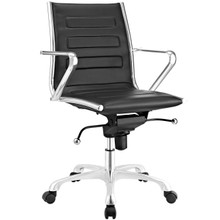 Ascend Mid Back Office Chair, Black, Faux Leather 10677