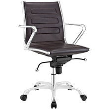 Ascend Mid Back Office Chair, Brown, Faux Leather 10678