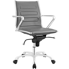 Ascend Mid Back Office Chair, Grey, Faux Leather 10679