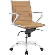Ascend Mid Back Office Chair, Brown, Faux Leather 10680