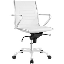 Ascend Mid Back Office Chair, White, Faux Leather 10681