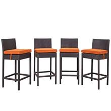 Convene Four PCS Outdoor Patio Pub Set, Orange, Rattan 10693