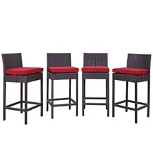 Convene Four PCS Outdoor Patio Pub Set, Red, Rattan 10695
