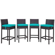 Convene Four PCS Outdoor Patio Pub Set, Blue, Rattan 10696