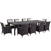 Convene Eleven PCS Outdoor Patio Dining Set, Beige, Rattan 10698