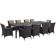 Convene Eleven PCS Outdoor Patio Dining Set, Brown, Rattan 10699