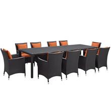 Convene Eleven PCS Outdoor Patio Dining Set, Orange, Rattan 10700