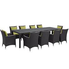 Convene Eleven PCS Outdoor Patio Dining Set, Green, Rattan 10701