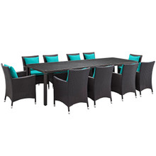 Convene Eleven PCS Outdoor Patio Dining Set, Blue, Rattan 10703