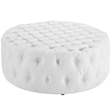 Amour Upholstered Vinyl Ottoman, White, Fabric 10732
