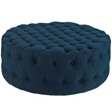 Amour Upholstered Fabric Ottoman, Navy, Fabric 10734