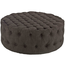 Amour Upholstered Fabric Ottoman, Brown, Fabric 10736