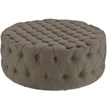 Amour Upholstered Fabric Ottoman, Grey, Fabric 10737