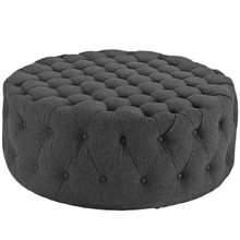 Amour Upholstered Fabric Ottoman, Grey, Fabric 10739