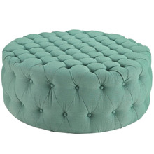 Amour Upholstered Fabric Ottoman, Blue, Fabric 10740