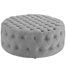 Amour Upholstered Fabric Ottoman, Grey, Fabric 10741